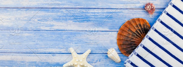 87d0fda7d Top view of towel flip flops seashells and starfish pastel blue wooden  planks background with copy space in rustic style frame template text stock  ...