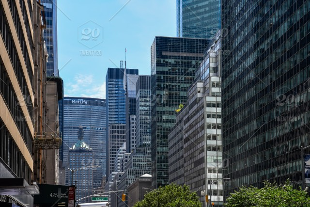 Low Angle View Of Park Avenue In Manhattan With Office Buildings And