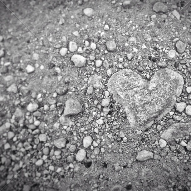 Selective-focus, sand, stone, heart, ground, rocks, pebbles