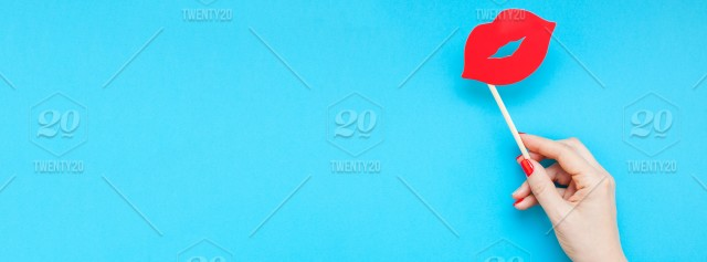 Creative overhead top view retro stylish red paper photo