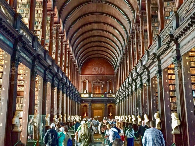 The Long Room inside the Trinity College Library in Dublin, Ireland