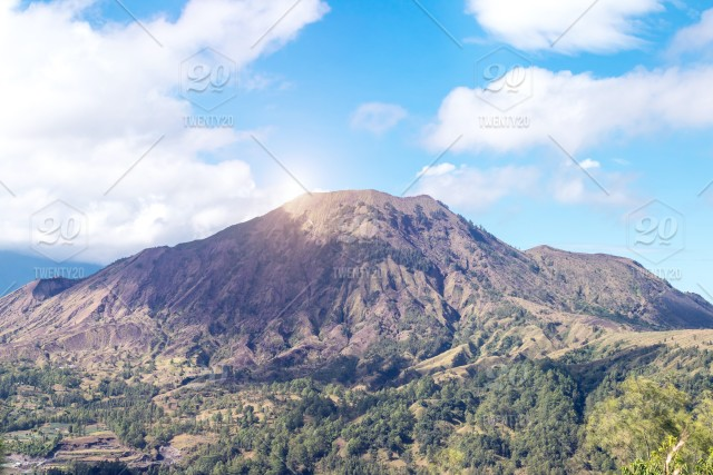 Active Indonesian volcano Batur on the tropical island of