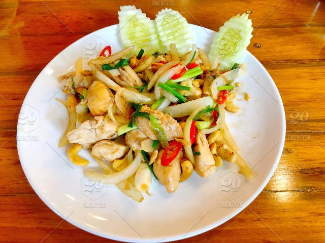 Stir Fried Chicken With Vegetables And Cashew Nuts Thai Food Thai
