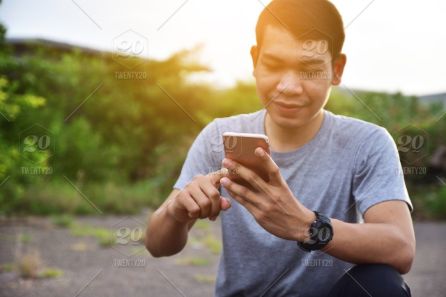 Technology Management Image: Man Holding Smart Phone And Using Internet Online Fast