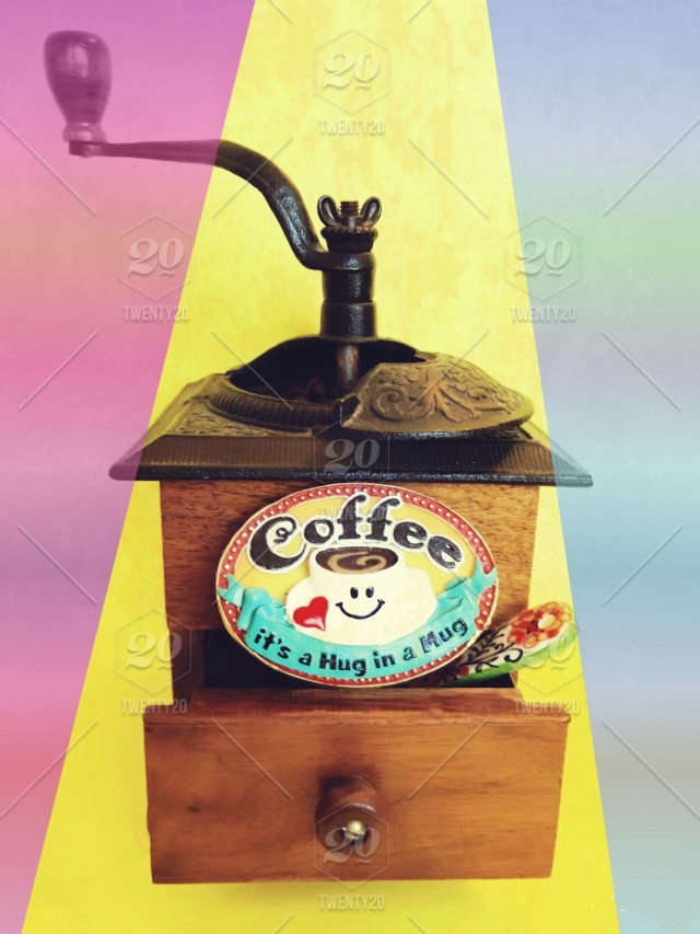 Antique coffee grinder and cute plaque with words! Multi
