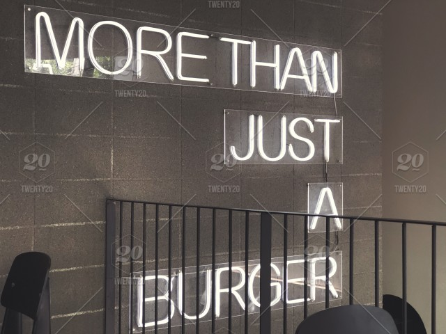 More than just a burger  Black and white photo  Neon lights  Neon