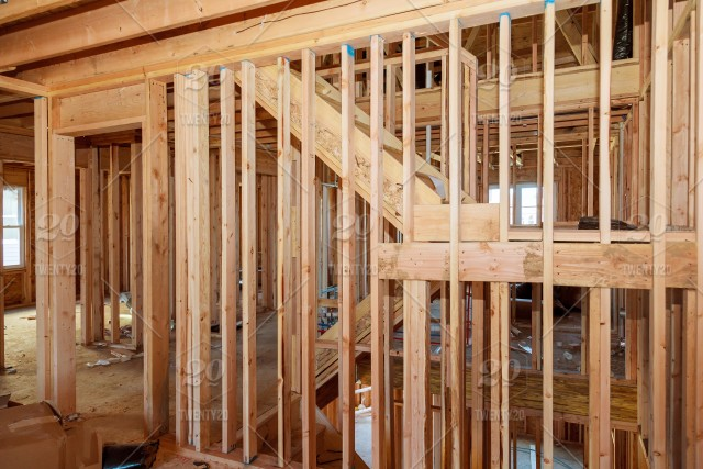 Interior Beam Frame Of A New House Under Residential Construction Home Framing Stock Photo E147393e 9813 4126 8389 Ce4be25dbac8