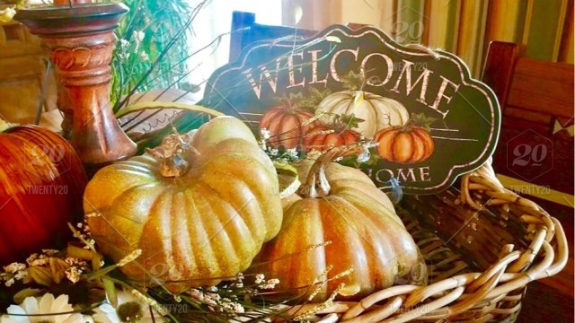 Wicker Basket With Pumpkins And Welcome Sign, Fall/autumn Decorations, Home,  House, Welcomingpeople ~NOMINATED~
