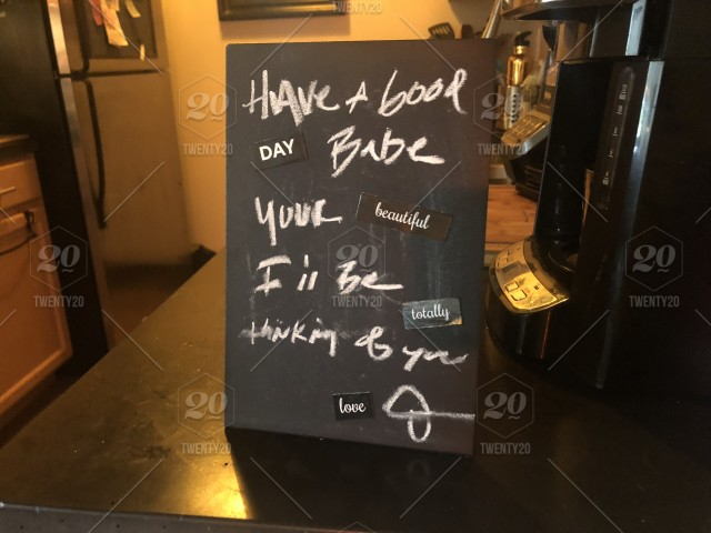 Morning I Love You Message On A Small Chalkboard In The Kitchen