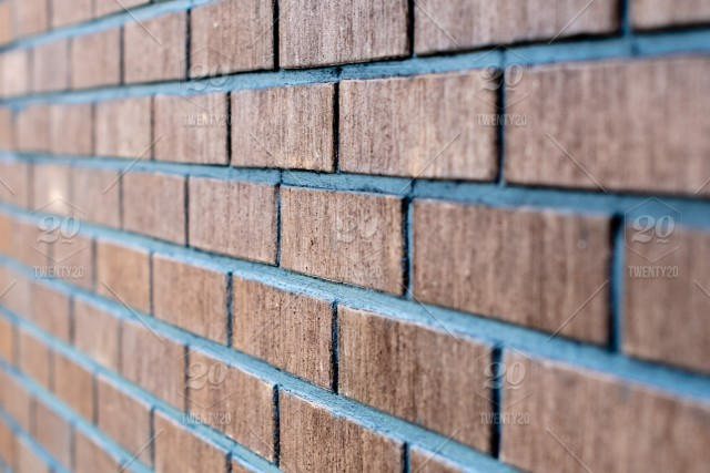 Selective Focus Close Up Photograph Wall From Red Brick Side View