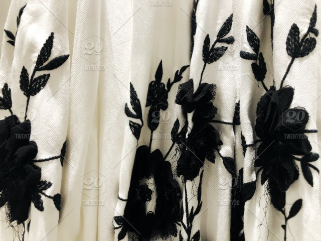 b9c8aededc Pretty and chic black and white floral skirt. Fabric background. stock ...