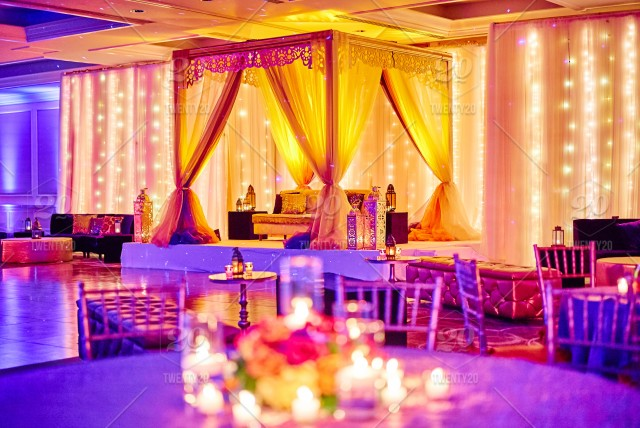Colorful Stage For Indian Bride And Groom At The Mehndi Night