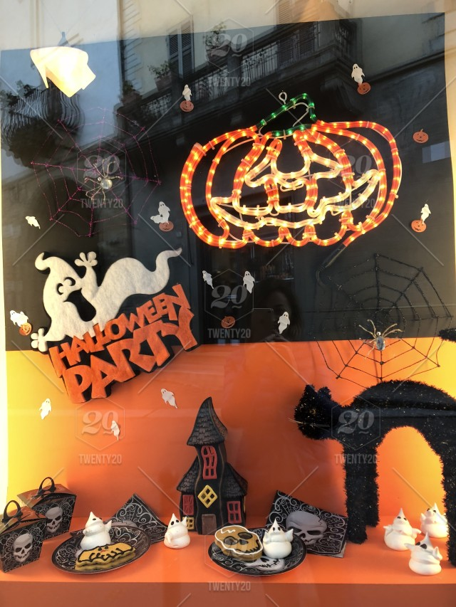 Halloween Shop Displays.Scary Halloween Decor Colorful Autumn Colors Travel View