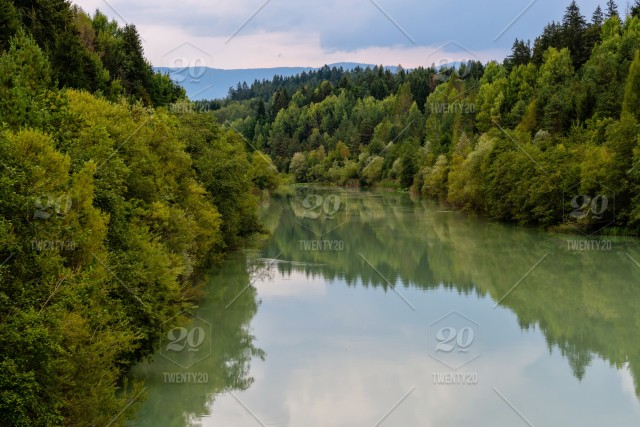 Forest River Reflection Landscape Autumn Forest River Water