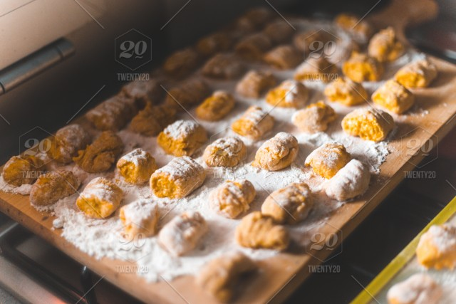 High Angle View Of Gnocchi On Table Stock Photo 7bde5219