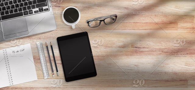 Coffee time concept design for banner, Top view of modern