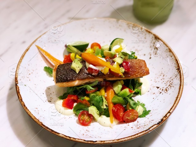 Grilled Salmon Steak With Fresh Salad In Lime Mayonnaise