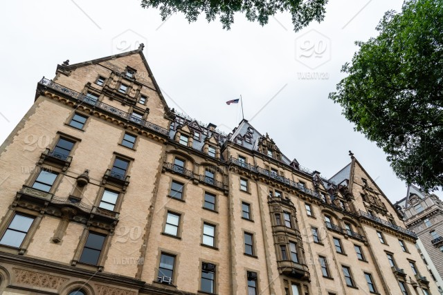 Low angle view of The Dakota building in the Upper West Side