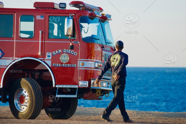 NOMINATED - San Diego Fire Rescue truck and firefighter