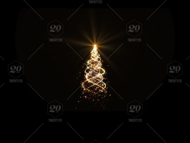 Gold Christmas Tree Lights With Snowflakes And Stars On Black