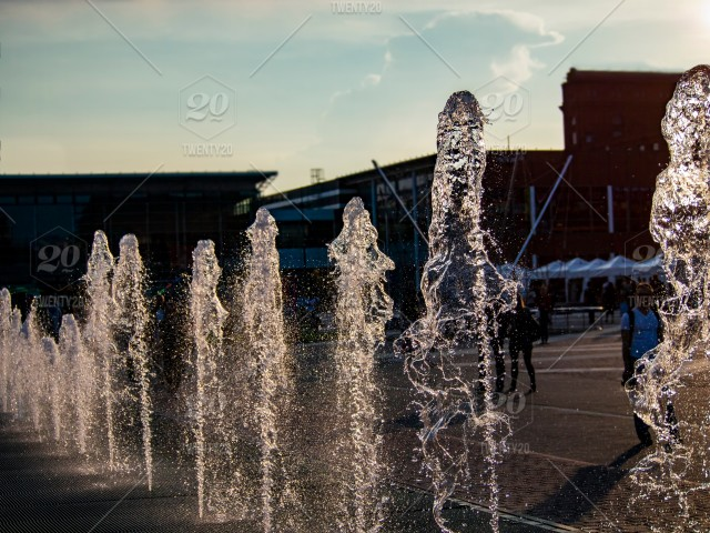 Front Of Shopping Mall From Fountain Water Jumping On The Air Stock Photo Baed10a8 D492 478c 8175 841b89f1e0d7