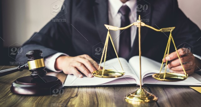 Judge gavel with Justice lawyers, Gavel on wooden table and