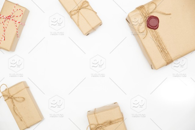Gift Box In Vintage Brown Color On Isolated White Background Gift