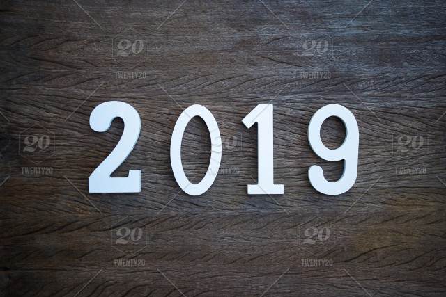 Happy new year 2019 background concept : Cut wood number