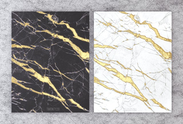 3d Rendering Of Black And White Marble With Golden Foil For Wedding