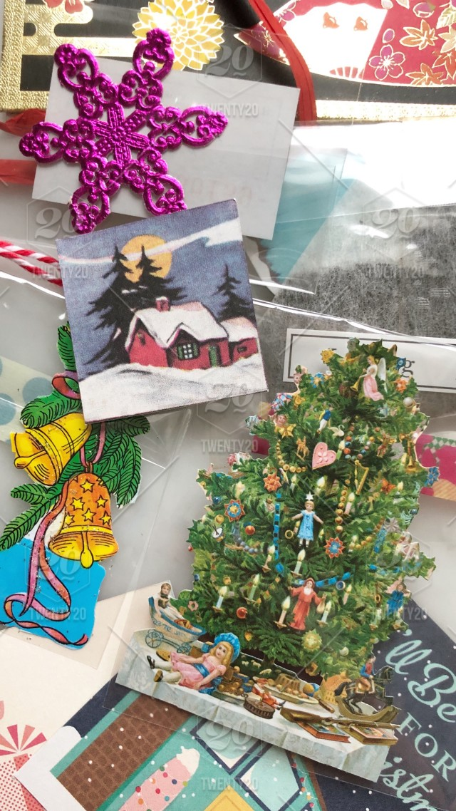 Collection Of Vintage Christmas Cards And Decorations Stock Photo