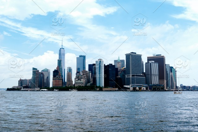Skyline Of Downtown Of Manhattan From Governors Island A Sunny Day