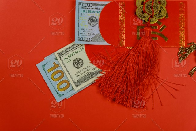 Top View Accessories Chinese New Year Festival Decorations On Red