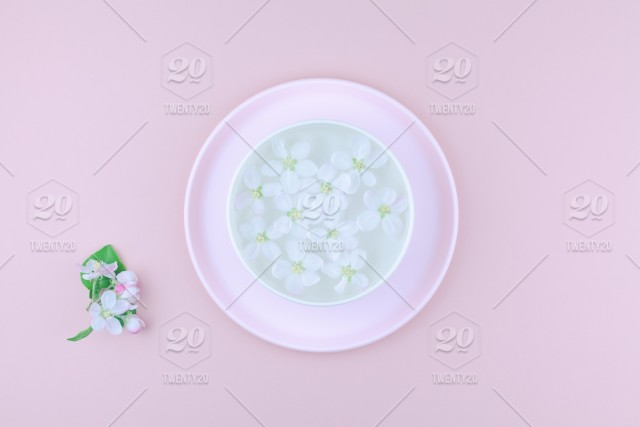 Creative Flat Lay Concept Top View Of Aroma Bowl With Water And