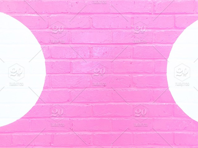 So Pretty Sweet Pink Brick Wall Background With White Polka