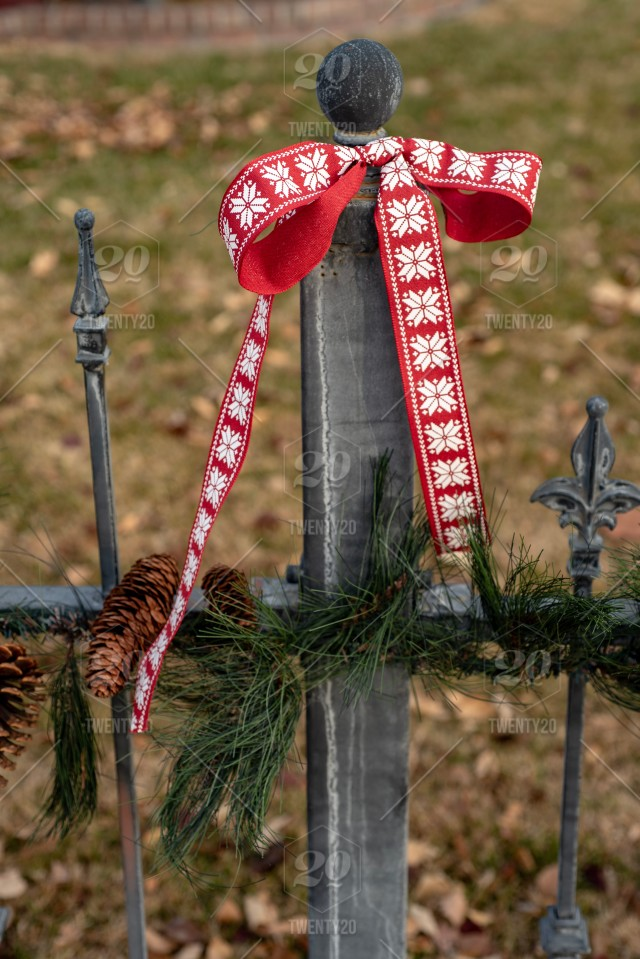 Pine Garland Pine Cones And Red Ribbon Outdoor Christmas