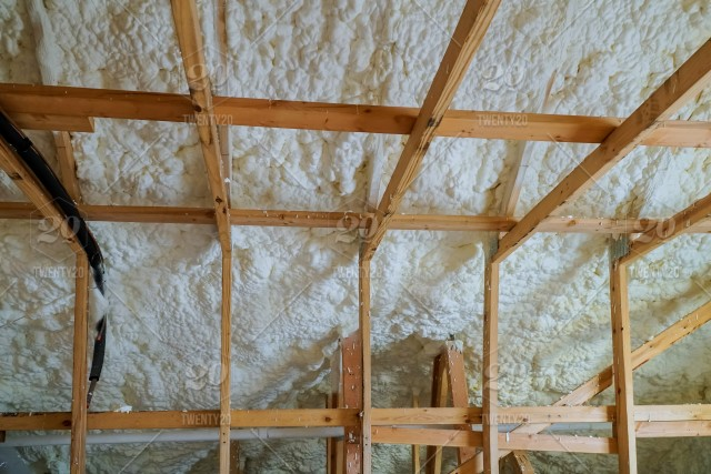 Insulation of attic with foam insulation cold barrier and
