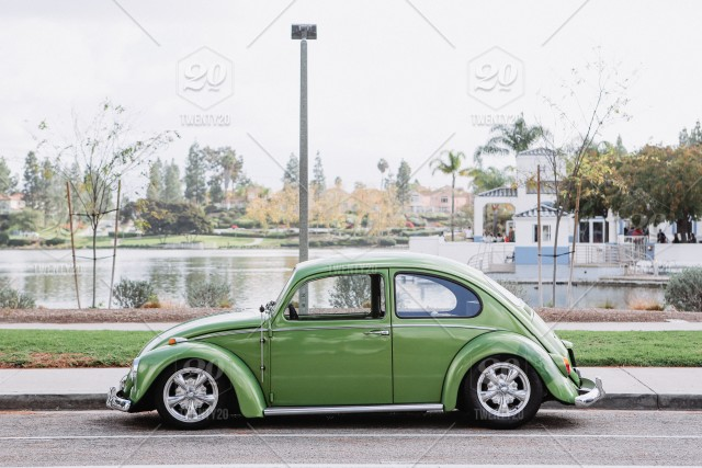 Classic green vw bug car vehicle vintage with custom paint job