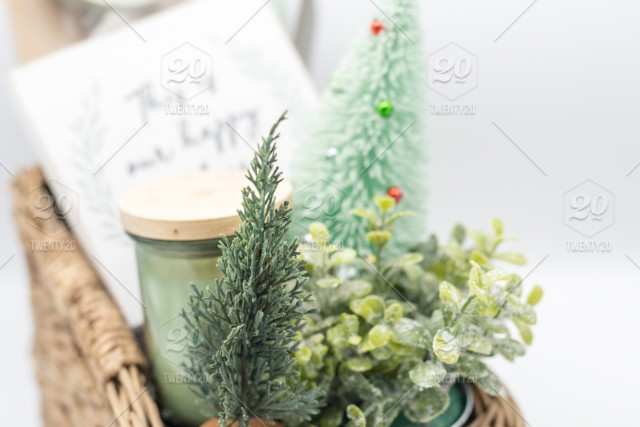 Holiday Gift Basket With Home Decor Items Gift Giving Ideas Stock