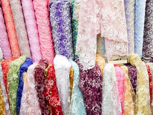 Colorful fabric india and thai style in fabric market