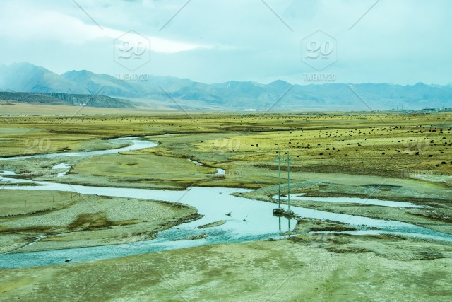 High land desert and snow ice and Yak farming stock photo