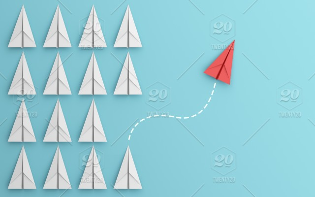 Leadership or different concept with red and white paper