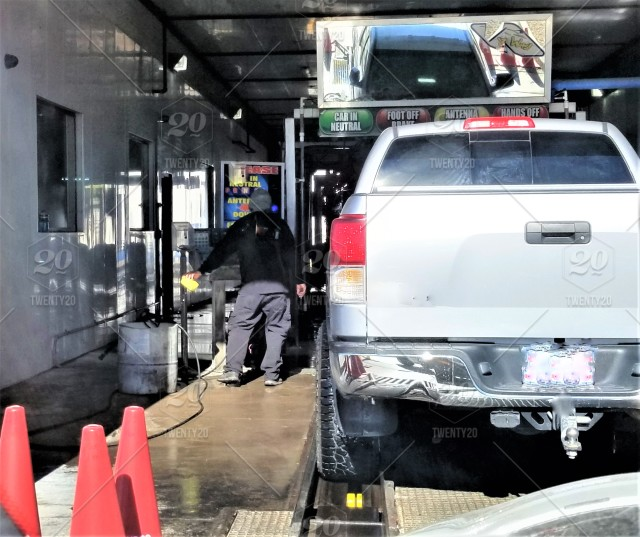 At The Car Wash! A truck enters into a drive through automatic car