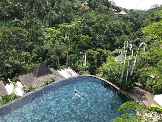 The woman swimming in the infinity swimming pool in the ...