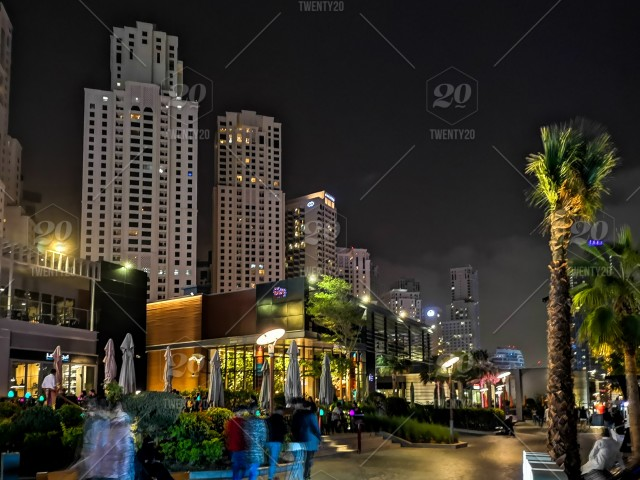 JBR, Jumeirah Beach Resort at night, a new tourist attraction and