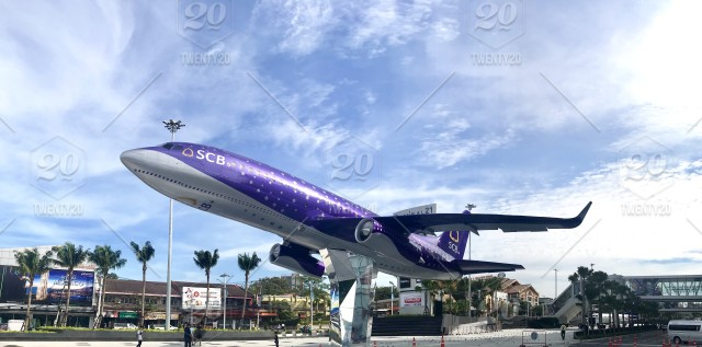 Airplane in front of terminal 21 mall, Pattaya, Thailand stock photo