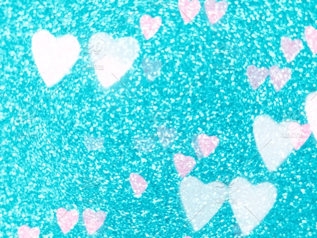 Blue glitter background with heart bokeh  Full frame of copy space
