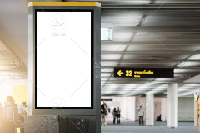 Blank Advertising Billboard At Airport Mock Up Poster Media