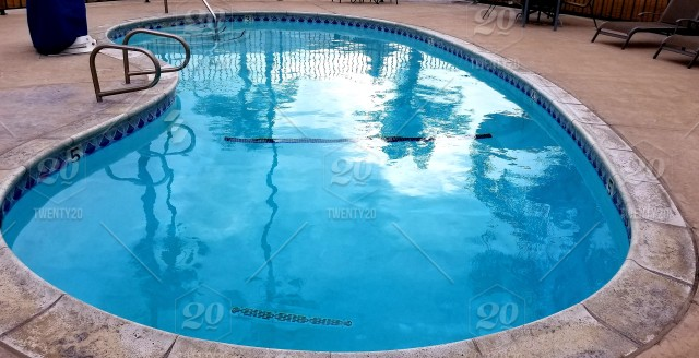 Kidney Shaped Swimming Pool at the Motel While on Vacation! Travel ...