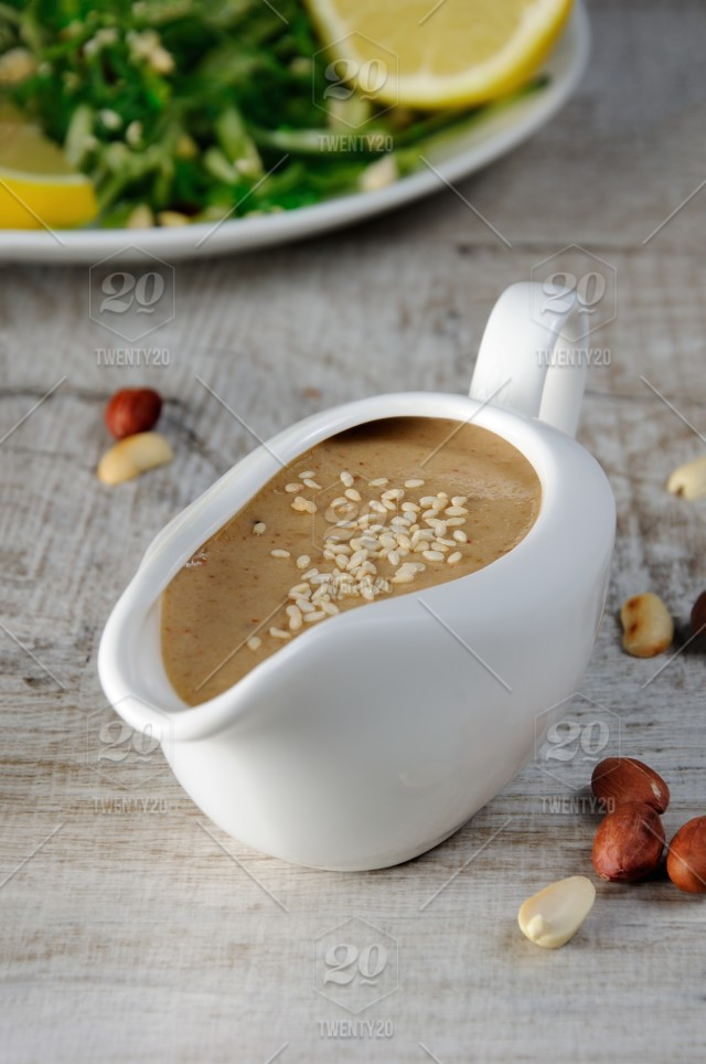 Peanut brown sauce for chukka salad with cucumber noodles and