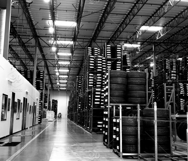 Tire Wholesale Warehouse >> Tire Manufacturer Warehouse New Tires Stacked From The Ground To